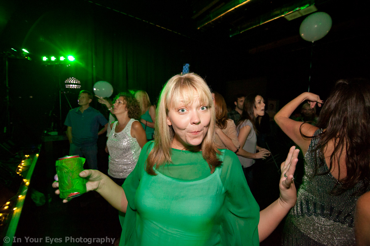 lady in green at concert